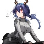 1girl alternate_costume arknights bicycle black_gloves black_pants blue_hair blush ch'en_(arknights) character_name commentary_request dragon_horns fingerless_gloves gloves grey_shirt ground_vehicle hair_between_eyes highres horns long_hair looking_away low_twintails pants raw_egg_lent red_eyes shirt simple_background solo translation_request twintails white_background