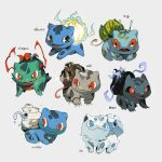 alternate_color alternate_element antennae black_eyes blue_eyes breathing_fire brown_eyes bulbasaur claws closed_mouth colored_sclera commentary_request electricity english_text fangs fire full_body gen_1_pokemon grey_background happy horns looking_at_viewer looking_back looking_to_the_side looking_up newo_(shinra-p) no_humans open_mouth pokemon pokemon_(creature) red_eyes red_sclera simple_background single_horn smile smoke starter_pokemon water