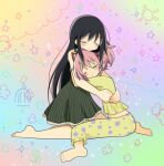 2girls akemi_homura bare_legs barefoot bird black_dress black_hair cage child_drawing closed_eyes closed_mouth cloud_background crescent_moon dress floral_background flower frills full_body furrowed_brow gradient gradient_background hair_between_eyes hair_ribbon hands_on_another's_back happy happy_tears head_rest hug kaname_madoka kneeling light_blush light_particles long_hair mahou_shoujo_madoka_magica moon multicolored multicolored_background multiple_girls mutual_hug no_nose pajamas pink_hair pokki_(sue_eus) polka_dot polka_dot_pajamas red_ribbon ribbon short_dress sparkle sparkle_background spread_legs star_(symbol) starry_background striped striped_dress sun_symbol tearing_up tears twintails vertical-striped_dress vertical_stripes
