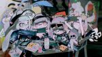 4girls :3 amiibo bag bangs blush can chair closed_mouth controller domino_mask eyewear_on_head food game_controller graffiti handheld_game_console hat head_scarf highres holding holding_handheld_game_console inkling jacket long_hair long_sleeves mask multiple_girls nintendo_switch open_mouth playing_games pointy_ears shirt short_sleeves shorts sitting splatoon_(series) splatoon_2 stuffed_toy sunglasses sweat table tekito_midori tentacle_hair