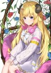 1girl absurdres ahoge animal_ears aran_sweater bangs blonde_hair blue_flower blue_rose bow braid choker closed_mouth commentary curled_horns cushion eyebrows_visible_through_hair flower hair_ornament hairclip hands_on_own_knees headphones headphones_around_neck high-waist_skirt highres hololive horns isaya_(pixiv4541633) leaf legs_together long_hair long_sleeves looking_at_viewer official_alternate_costume plant red_choker red_flower red_rose rose sheep_ears sheep_girl sheep_horns sidelocks sitting skirt sleeves_past_wrists smile solo sweater tsunomaki_watame vines violet_eyes virtual_youtuber white_bow white_neckwear white_skirt white_sweater
