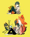 1boy bangs beautifly black_pants bug butterfly butterfree caterpie commentary_request eyelashes gen_1_pokemon gen_3_pokemon gen_5_pokemon gen_6_pokemon green_background green_hair grey_eyes grey_hoodie holding holding_pokemon hood hoodie insect larvesta long_sleeves male_focus newo_(shinra-p) pants pokemon pokemon_(creature) scatterbug shoes simple_background sitting vivillon volcarona white_footwear wurmple