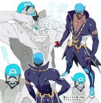 1boy :d anchor_necklace archie_(pokemon) bandana beard black_eyes blue_bandana brown_hair collarbone commentary_request dark-skinned_male dark_skin facial_hair highres holding holding_poke_ball male_focus multiple_views muscular muscular_male no_(so_dattamono) open_mouth pectorals poke_ball pokemon pokemon_(game) pokemon_oras popped_collar short_hair smile team_aqua teeth translation_request waist_cape wetsuit |d