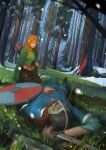 1boy 1girl absurdres alette_(banner_saga) arrow_(projectile) beard blood bloody_clothes bloody_hands blue_shirt bow_(weapon) bracer brown_hair brown_skirt cape closed_eyes corpse facial_hair forest grass green_cape haryarti helmet highres long_hair nature onef orange_hair quiver shield shirt sitting skirt snow spoilers sword the_banner_saga weapon