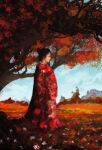 1girl absurdres anato_finnstark artist_name asian autumn_leaves black_hair blue_sky closed_mouth day from_side hair_bun highres japanese_clothes kimono leaf maple_leaf original outdoors profile red_kimono red_theme sky solo tree