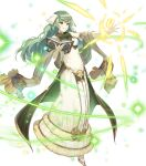 1girl artist_request bangs bare_shoulders blush book breasts dress elbow_gloves eyebrows_visible_through_hair fire_emblem fire_emblem_echoes:_shadows_of_valentia fire_emblem_heroes full_body fur_trim gloves green_eyes green_hair highres holding holding_book long_dress long_skirt looking_away magic medium_breasts official_art open_book parted_lips shiny shiny_hair skirt sleeveless solo sparkle tatiana_(fire_emblem) transparent_background white_gloves