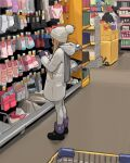 1girl beanie black_footwear blonde_hair boots child coat from_side gloves grey_scarf hat highres holding hood hood_down indoors long_hair luimiart original pantyhose purple_gloves scarf shop shopping_cart socks solo_focus standing symbol_commentary white_coat white_legwear winter_clothes winter_coat