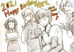 1boy 3girls :d ^_^ anger_vein aqua_(konosuba) birthday birthday_cake cake closed_eyes cup darkness_(konosuba) drinking_glass english_text food hair_ornament holding jas_(kda10457) kono_subarashii_sekai_ni_shukufuku_wo! limited_palette long_hair magic megumin multiple_girls open_mouth ponytail satou_kazuma short_hair smile water x_hair_ornament