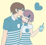 1boy 1girl aqua_shirt arm_at_side beige_background breast_pocket breasts brown-framed_eyewear brown_hair collared_shirt couple cup disposable_cup drinking_straw eyebrows_visible_through_hair eyelashes forehead_kiss glasses grey_shirt hair_ornament hairclip hand_on_another's_shoulder hand_on_another's_waist happy heart heart_background height_difference hetero holding holding_cup husband_and_wife kaname_junko kaname_tomohisa kiss light_blush light_brown_hair mahou_shoujo_madoka_magica medium_breasts pocket pokki_(sue_eus) polo_shirt shirt short_sleeves simple_background smile striped striped_shirt upper_body