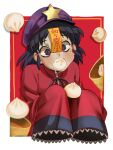 1girl absurdres black_eyes black_hair blush chromatic_aberration dumpling eating food food_in_mouth hat_ornament highres miyako_yoshika oversized_clothes red_background red_pupils red_shirt shirt short_hair simple_background solo star_(symbol) star_hat_ornament touhou umamimochi upper_body