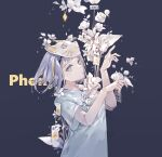 1girl bangs barcode cat_mask doll_joints english_text flower hands_up highres joints light_blue_eyes looking_at_viewer mask mask_on_head mechari paw_pose phony_(vocaloid) shirt short_hair sign silver_hair solo t-shirt upper_body warning_sign white_flower