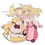2girls apron bangs blonde_hair blush bow closed_eyes cravat do_m_kaeru dress drill_hair earrings eyebrows_visible_through_hair fire_emblem fire_emblem_awakening gloves hair_between_eyes hair_bow hair_ornament holding_hands jewelry lissa_(fire_emblem) long_hair long_sleeves maribelle_(fire_emblem) multiple_girls open_mouth pants pink_gloves puffy_sleeves smile twintails twitter_username white_background white_bow