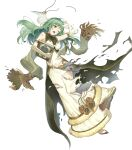 1girl artist_request bangs bare_shoulders blush book breasts dress elbow_gloves eyebrows_visible_through_hair fire_emblem fire_emblem_echoes:_shadows_of_valentia fire_emblem_heroes full_body fur_trim gloves green_eyes green_hair highres holding holding_book long_dress long_skirt looking_away medium_breasts official_art open_mouth shiny shiny_hair skirt sleeveless solo tatiana_(fire_emblem) torn_clothes torn_gloves torn_skirt transparent_background white_gloves