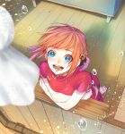 1girl :d bangs barefoot blue_eyes blurry blurry_foreground brown_hair china_dress chinese_clothes double_bun dress eyebrows_visible_through_hair floating_hair from_above gintama kagura_(gintama) ksn_(sleeping_chick) looking_up open_mouth red_dress short_hair short_sleeves side_slit smile soles solo wooden_floor