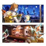 1boy backpack bag bangs bar bottle bright_pupils commentary_request electricity fence gen_1_pokemon gen_3_pokemon gen_4_pokemon grey_eyes holding holding_map hood hood_down hoodie indoors jigglypuff jukebox long_sleeves male_focus map minun moon newo_(shinra-p) night open_mouth orange_hair outdoors plusle pokemon pokemon_on_back rotom rotom_(normal) sky stool white_hoodie white_pupils yellow_bag