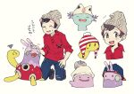 1boy :d bangs beanie blush brown_eyes brown_footwear brown_hair cable_knit closed_eyes commentary_request gen_2_pokemon gen_6_pokemon goomy grey_headwear hat hatted_pokemon headpat kneeling looking_at_viewer male_focus newo_(shinra-p) notice_lines open_mouth pokemon pokemon_(creature) pokemon_(game) pokemon_swsh red_shirt shirt shoes shuckle sleeves_rolled_up smile squiggle sweatdrop swept_bangs translation_request victor_(pokemon) wooper