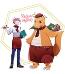 1boy apron blue_pants brown_footwear buttons commentary_request copyright_name cup dragonite dugtrio gen_1_pokemon hat hatted_pokemon holding holding_tray john_(user_wmrz3824) lance_(pokemon) male_focus pants pink_hair pokemon pokemon_(creature) pokemon_(game) pokemon_cafe_mix pokemon_hgss red_apron red_headwear shirt shoes sleeves_rolled_up spiky_hair standing teacup teapot tray waist_apron white_shirt