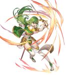 1girl armor bangs belt boots breasts capelet dress elbow_gloves fire_emblem fire_emblem:_mystery_of_the_emblem fire_emblem_echoes:_shadows_of_valentia fire_emblem_heroes full_body gloves green_eyes green_hair highres holding holding_sword holding_weapon long_hair medium_breasts official_art open_mouth palla_(fire_emblem) pelvic_curtain sheath short_dress shoulder_armor sleeveless solo sword teffish thigh-highs thigh_boots transparent_background weapon white_footwear white_gloves