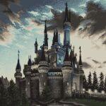 battlement castle clouds daisen_(specialdaisen) disney highres light no_humans outdoors pixel_art scenery sky still_life tower tree