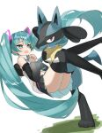 1girl absurdres bangs black_footwear blue_eyes blush boots carrying crossover detached_sleeves eyelashes gen_4_pokemon green_hair hair_ornament hands_together hatsune_miku highres interlocked_fingers long_hair lucario open_mouth pleated_skirt pokemon pokemon_(creature) raised_eyebrows reirou_(chokoonnpu) shiny shiny_hair shiny_skin skirt symbol_commentary thigh-highs thigh_boots twintails vocaloid