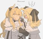 2girls angry animal_ears arknights armor black_bow black_gloves black_headwear black_sleeves blemishine_(arknights) blonde_hair blood blood_on_face blue_eyes blush bow extra_ears fang finger_to_mouth flying_sweatdrops gloves grabbing hair_bow hat horse_ears husui_parashi long_hair looking_at_another looking_up multiple_girls open_mouth ponytail shirt simple_background tearing_up twitter_username upper_body whislash_(arknights) white_background white_shirt yellow_eyes