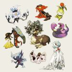 chandelure closed_eyes colored_skin commentary_request crack ekans exeggcute fangs fire flower gardevoir gen_1_pokemon gen_2_pokemon gen_3_pokemon gen_5_pokemon hands_up mawile mega_gardevoir mega_pokemon messy_hair newo_(shinra-p) open_mouth petilil pokemon pokemon_(creature) sableye saliva sawsbuck slugma standing tongue white_skin yellow_eyes