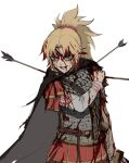 1girl absurdres alternate_costume arm_at_side armor arrow_in_armor black_cape blonde_hair blood blood_on_face cape fate_(series) green_eyes grimace highres jason_kim mordred_(fate) mordred_(fate)_(all) red_scrunchie red_skirt scrunchie shoulder_grab sketch skirt smirk solo sword weapon white_background