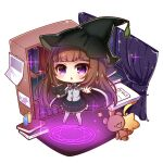 1girl bangs black_cape black_headwear black_skirt blush book bookshelf bow brown_hair cape chestnut_mouth chibi commentary_request curtains eyebrows_visible_through_hair grey_shirt hat highres holding holding_book long_hair long_sleeves looking_at_viewer magic_circle no_shoes open_book original pantyhose parted_lips shirt skirt solo standing star_pillow striped striped_bow stuffed_animal stuffed_toy teddy_bear very_long_hair violet_eyes white_legwear window witch_hat yukiyuki_441
