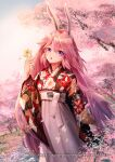 1girl absurdres alien_(15307703) alternate_costume animal_ears blue_sky cherry_blossoms clouds flower fox_ears highres holding holding_flower honkai_(series) honkai_impact_3rd huge_filesize japanese_clothes kimono long_hair looking_at_viewer open_mouth pink_hair scenery sky solo tree tree_branch violet_eyes white_flower yae_sakura