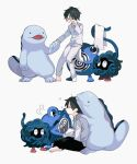 1boy bangs barefoot black_hair black_pants blush buttons closed_eyes collared_shirt commentary_request gen_1_pokemon gen_2_pokemon hand_up holding holding_hand holding_towel long_sleeves male_focus multiple_views newo_(shinra-p) pajamas pants pokemon poliwhirl quagsire shirt short_hair simple_background sitting sleepy standing tangela toes towel white_background white_pants white_shirt