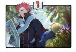 ! 1boy belt blue_jacket blurry border cape closed_mouth clouds commentary_request day dratini from_below gen_1_pokemon gen_2_pokemon holding holding_map jacket john_(user_wmrz3824) jumpluff lance_(pokemon) leaves_in_wind looking_down male_focus map outdoors pink_hair pokemon pokemon_(creature) pokemon_(game) pokemon_hgss popped_collar sky smile spiky_hair spoken_exclamation_mark white_border