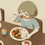 1boy :d apple_slice avogado6 blue_shirt brown_hair closed_eyes colored_skin cup curry curry_rice eating fang food food_art food_on_face grey_background open_mouth original rice shirt short_hair short_sleeves smile solo_focus table white_skin