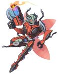 1boy absurdres antennae beast_wars beast_wars:_transformers chibi fire gun highres holding holding_gun holding_weapon inferno_(beast_wars) insect_wings looking_to_the_side mecha no_humans predacon red_eyes santaharabum science_fiction sharp_teeth smile solo teeth transformers weapon white_background wings