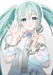 1girl absurdres aqua_eyes aqua_hair azusa_(azunyan12) bare_shoulders commentary detached_sleeves gradient gradient_background hair_ornament hand_up hatsune_miku hatsune_miku_expo highres holding holding_microphone long_hair looking_at_viewer map_print microphone necktie open_mouth see-through_sleeves shirt shoulder_tattoo silver_dress silver_neckwear silver_sleeves sleeveless sleeveless_shirt smile solo tattoo twintails upper_body very_long_hair vocaloid waving