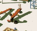 2boys :d angel avogado6 black_pants bucket closed_eyes commentary_request different_shadow grey_hair halo monkey_bars multiple_boys open_mouth original pants playing red_footwear sandbox seesaw shirt shoes smile suitcase transparent white_shirt