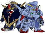 absurdres black_eyes clenched_hand colored_sclera gundam highres horns knight_gundam looking_to_the_side mecha no_humans open_hand redesign satan_gundam science_fiction sd_gundam sd_gundam_gaiden sketch v-fin waishou_(fusuma) white_background yellow_sclera