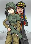 1boy 1girl :d armor bangs barbed_wire black_gloves black_hair black_headwear body_armor bolt_pistol brown_hair closed_mouth coat commissar fang flick-the-thief fog glasses gloves green_headwear gun hachiouji_naoto hat helmet holding holding_gun holding_weapon ijiranaide_nagatoro-san imperial_guard looking_away military military_uniform nagatoro_hayase open_clothes open_coat open_mouth outdoors raised_eyebrows rifle smile tongue uniform warhammer_40k wavy_mouth weapon yellow_eyes