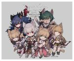 3boys 3girls armband armor armored_boots assassin_cross_(ragnarok_online) bangs belt black_footwear black_gloves black_shirt blonde_hair blue_eyes blue_hair blue_pants boots border bow_(weapon) breastplate brown_belt brown_cape brown_dress brown_footwear brown_gloves brown_shirt brown_shorts cape cat cecil_damon chainmail closed_mouth commentary_request copyright_name crop_top cross dated double_bun dress eremes_guile eyebrows_visible_through_hair fingerless_gloves full_body fur-trimmed_cape fur-trimmed_gloves fur-trimmed_shirt fur-trimmed_shorts fur_trim furrification furry gauntlets gloves green_hair grey_background hair_between_eyes high_heels high_priest_(ragnarok_online) high_wizard_(ragnarok_online) highres holding holding_bow_(weapon) holding_staff holding_sword holding_wand holding_weapon howard_alt-eisen juliet_sleeves katheryne_keyron kusabi_(aighe) leg_armor long_hair long_sleeves looking_at_viewer lord_knight_(ragnarok_online) margaretha_solin midriff multiple_boys multiple_girls navel open_clothes open_mouth open_shirt pants pauldrons pouch puffy_sleeves ragnarok_online red_cape red_dress red_eyes red_scarf sash scarf seyren_windsor shirt shoes short_dress short_hair short_shorts shorts shoulder_armor simple_background sleeveless sleeveless_shirt smile sniper_(ragnarok_online) spiked_gauntlets staff suspenders sword tabard torn_clothes torn_scarf torn_shirt two-tone_dress two-tone_footwear two-tone_gloves two-tone_shirt two-tone_shorts vambraces wand weapon white_border white_dress white_footwear white_hair white_sash white_shirt whitesmith_(ragnarok_online) yellow_eyes yellow_gloves yellow_shirt yellow_shorts