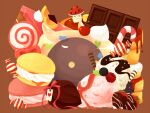 :3 brown_background butter cake cake_slice candy candy_cane cherry chocolate chocolate_bar chocolate_strawberry commentary_request creature demon deviruchi endo_mame food food_focus fruit heart ice_cream lollipop macaron mushroom no_humans pancake ragnarok_online simple_background spore_(ragnarok_online) strawberry syrup vanilmirth_(ragnarok_online) wrapped_candy