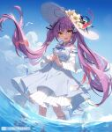 1girl :d absurdres ahoge bangs breasts brown_eyes chucolala day detached_sleeves dress eyebrows_visible_through_hair fish flower hat hat_flower heart_ahoge highres jellyfish long_hair long_sleeves looking_at_viewer open_mouth otome_oto purple_hair slyvia smile solo standing steepled_fingers sun_hat twintails very_long_hair virtual_youtuber wading water white_dress white_headwear yellow_flower