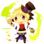 1boy bandana bangs black_gloves black_shirt black_wings blonde_hair brown_headwear bucket cape chibi commentary_request crop_top endo_mame fingerless_gloves full_body fur-trimmed_cape fur-trimmed_jacket fur_trim gameplay_mechanics gloves hair_between_eyes hat head_wings holding holding_bucket holding_paintbrush jacket looking_to_the_side male_focus open_clothes open_jacket open_mouth paint paintbrush purple_cape purple_jacket ragnarok_online red_neckwear shirt short_hair short_sleeves simple_background solo stalker_(ragnarok_online) top_hat violet_eyes waist_cape white_background wings