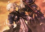 2boys ahoge alphinaud_leveilleur armor bangs black_gloves blue_eyes closed_mouth dragoon_(final_fantasy) dutch_angle earrings elezen elf estinien_wyrmblood facing_away final_fantasy final_fantasy_xiv full_armor gauntlets gloves holding holding_weapon jewelry long_hair looking_at_viewer mihira_(tainosugatayaki) multiple_boys pointy_ears shoulder_armor silver_hair standing sunset weapon white_hair