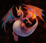 blue_eyes charizard claws commentary embers fangs fire full_body gen_1_pokemon highres kikuyoshi_(tracco) no_humans pokemon pokemon_(creature) solo