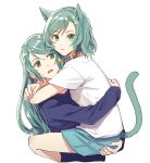 2girls :/ akni animal_ears aqua_hair aqua_shorts arms_around_neck bang_dream! bangs blue_shirt bow braid carrying cat_ears cat_girl cat_tail closed_mouth commentary_request cropped_torso eyebrows_visible_through_hair green_eyes hair_bow hikawa_hina hikawa_sayo kemonomimi_mode korean_commentary long_hair long_sleeves looking_at_another looking_at_viewer multiple_girls open_mouth shiny shiny_hair shirt short_hair short_sleeves shorts siblings side_braids simple_background sisters sweatdrop swept_bangs tail tail_raised twin_braids twins upper_body white_background white_shirt yellow_bow