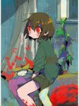 1other androgynous bangs bathroom bathtub blood blood_on_face brown_hair chara_(undertale) closed_eyes closed_mouth curtains flower flowey_(undertale) green_shorts hair_between_eyes long_sleeves plant red_eyes shorts sitting soumenhiyamugi striped striped_sweater sweater undertale vines yellow_flower