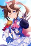 1girl animal_ears ascot bangs blue_eyes blue_gloves blush brown_hair commentary_request epaulettes eyebrows_visible_through_hair gloves grin hair_between_eyes hair_ribbon hand_on_hip high_ponytail horse_ears jacket looking_at_viewer mismatched_gloves multicolored_hair myusha one_eye_closed pink_neckwear pink_ribbon pleated_skirt ponytail ribbon sidelocks single_epaulette skirt smile solo streaked_hair tokai_teio_(umamusume) umamusume v-shaped_eyebrows white_gloves white_hair white_jacket white_skirt