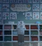 1boy avogado6 backpack bag book bruise child child_abuse child_drawing classroom commentary_request grey_pants holding indoors injury long_sleeves male_focus original pants randoseru sack shirt shoes solo white_shirt