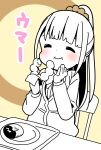 1girl :i bangs blunt_bangs blush bow bowtie brown_background cardigan closed_mouth commentary_request dot_nose doughnut eating eyebrows_behind_hair food foodgasm hair_ornament hair_scrunchie hand_to_own_mouth hands_up highres hitoribocchi_no_marumaru_seikatsu holding holding_food honshou_aru katsuwo_(cr66g) long_hair long_sleeves partially_colored plate ponytail scrunchie simple_background sitting smile solo translated two-tone_background upper_body