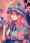 1girl absurdres ainy_(style) blue_kimono blurry blush breasts bug butterfly butterfly_on_hand cherry_blossoms depth_of_field hair_between_eyes hat highres huge_filesize insect japanese_clothes kimono large_breasts mob_cap outdoors pink_eyes pink_hair qiu_ju saigyouji_yuyuko smile solo touhou triangular_headpiece upper_body