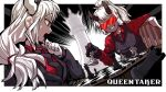 2girls absurdres bangs black_gloves black_jacket black_neckwear black_vest board_game border breasts chair chess chess_piece copyright_name demon_girl english_text formal gloves goggles grin helltaker highres horns jacket king_(chess) knight_(chess) labcoat large_breasts lemontansan long_hair loremaster_(helltaker) low-tied_long_hair lucifer_(helltaker) multiple_girls necktie open_mouth pawn playing_games queen_(chess) red_eyes rook_(chess) sitting smile vest white_border white_gloves white_hair